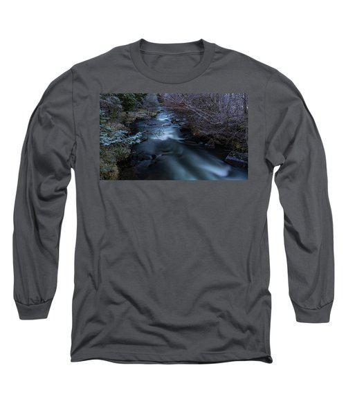 Frozen River And Winter In Forest. Long Exposure With Nd Filter Long Sleeve T-Shirt