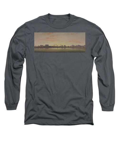 Pylons At Karnak  The Theban Mountains In The Distance  Long Sleeve T-Shirt