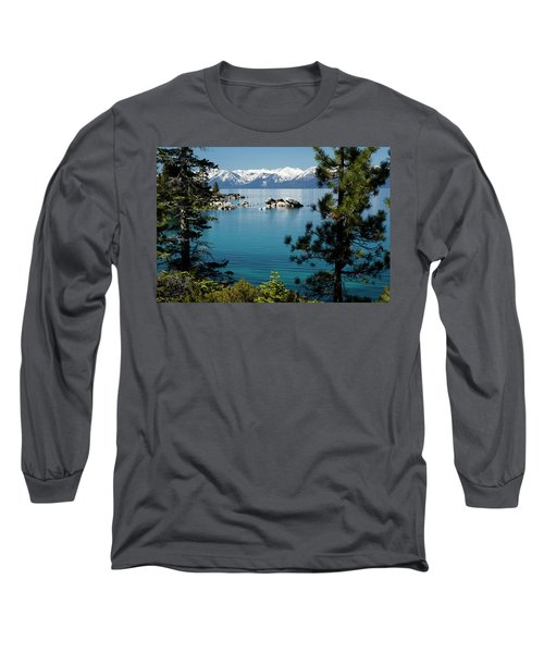 Rocks In A Lake With Mountain Range Long Sleeve T-Shirt