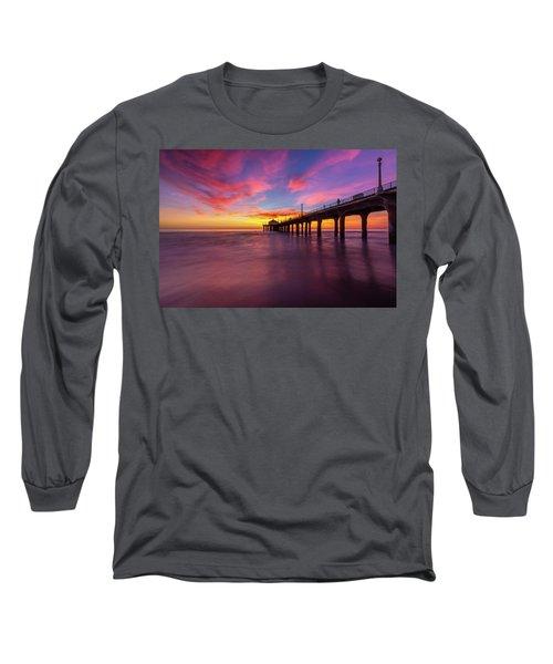 Stunning Sunset At Manhattan Beach Pier Long Sleeve T-Shirt