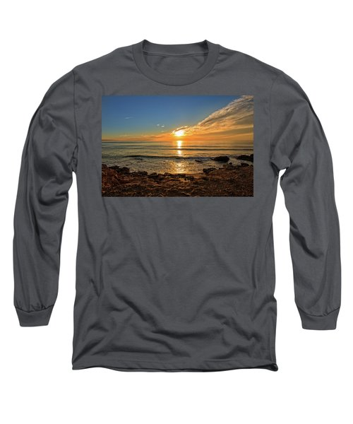 The Calm Sea In A Very Cloudy Sunset Long Sleeve T-Shirt