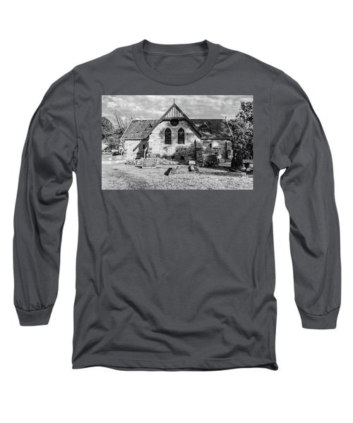19th Century Sandstone Church In Black And White Long Sleeve T-Shirt