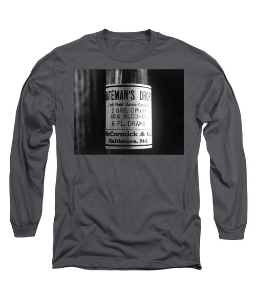 Antique Mccormick And Co Baltimore Md Bateman's Drops Opium Bottle Label - Black And White Long Sleeve T-Shirt