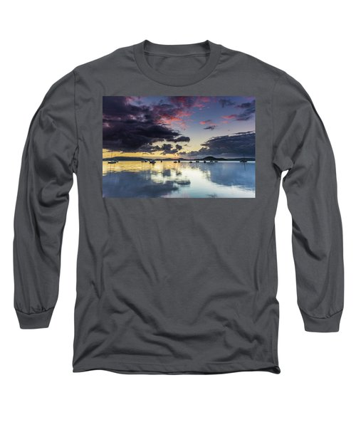 Overcast Morning On The Bay With Boats Long Sleeve T-Shirt