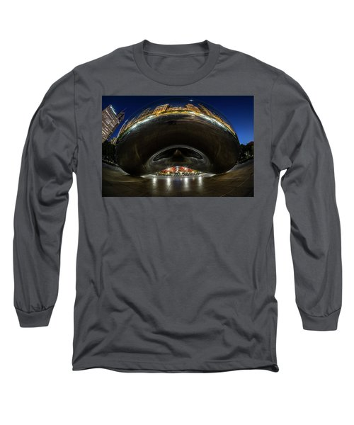 A Fisheye Perspective Of Chicago's Bean Long Sleeve T-Shirt