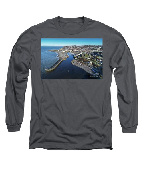 Aberystwyth Harbour From The Air In Winter Long Sleeve T-Shirt