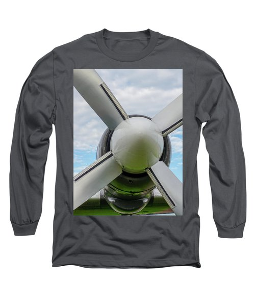 Long Sleeve T-Shirt featuring the photograph Aircraft Propellers. by Anjo Ten Kate