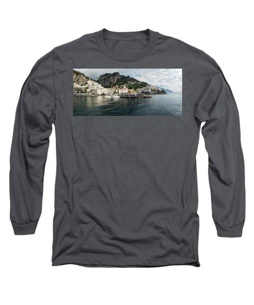 Amalfi Town Seen From Ferry Approaching Long Sleeve T-Shirt