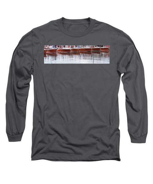 Antique Classic Wooden Boats In A Row Panorama 81112p Long Sleeve T-Shirt