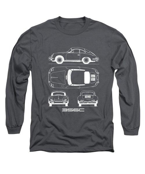 Porsche 356 C Blueprint Long Sleeve T-Shirt