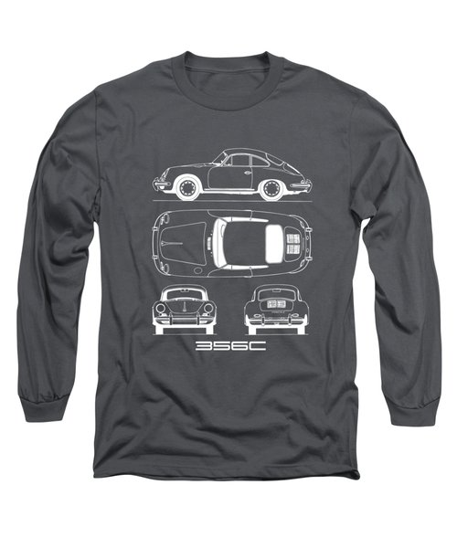 Porsche 356 C Blueprint Long Sleeve T-Shirt