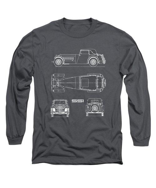 Jaguar Ss1 Blueprint Black Long Sleeve T-Shirt