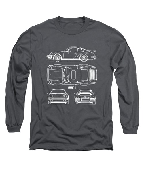 Porsche 911 Turbo Blueprint - Gray Long Sleeve T-Shirt