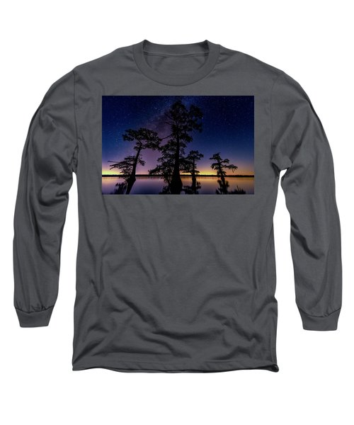 Long Sleeve T-Shirt featuring the photograph Atchafalaya Basin Under The Miky Way by Andy Crawford