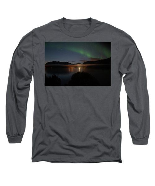 Aurora Northern Polar Light In Night Sky Over Northern Norway Long Sleeve T-Shirt