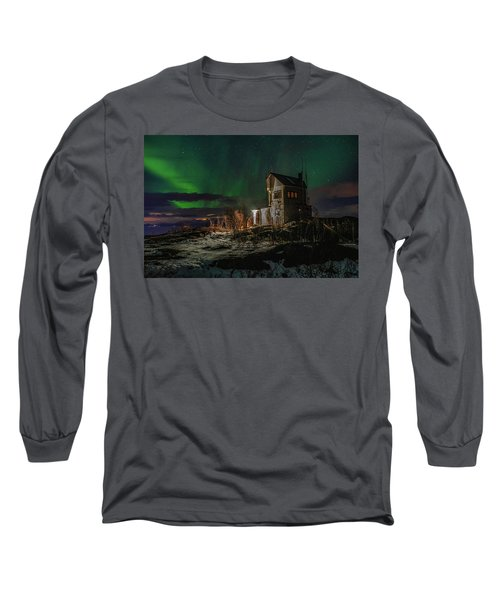 Aurora Over The Radio Station Long Sleeve T-Shirt