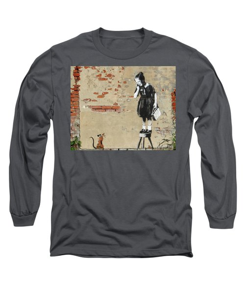 Banksy New Orleans Girl And Mouse Long Sleeve T-Shirt