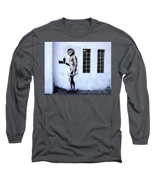 Bansky Fast Food Caveman Los Angeles Long Sleeve T-Shirt