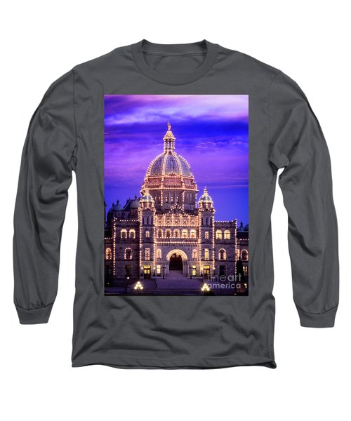 Long Sleeve T-Shirt featuring the photograph Bc Parliament by Scott Kemper