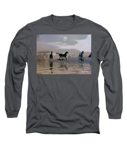 Beach Of Wild Horses Long Sleeve T-Shirt
