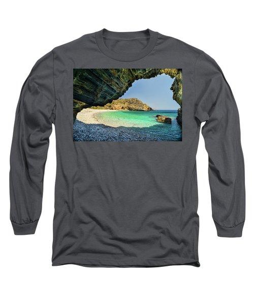 Almiro Beach With Cave Long Sleeve T-Shirt