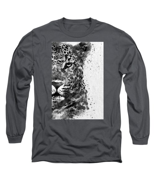 Black And White Half Faced Leopard Long Sleeve T-Shirt