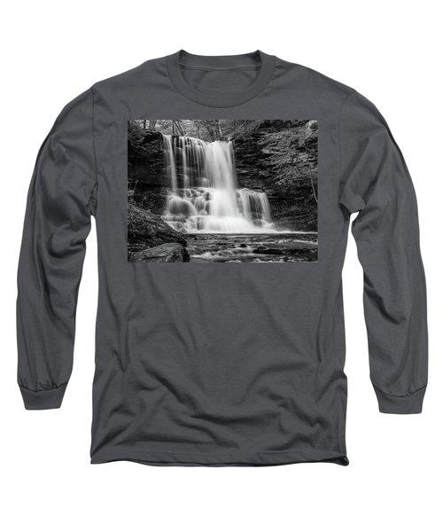 Black And White Photo Of Sheldon Reynolds Waterfalls Long Sleeve T-Shirt