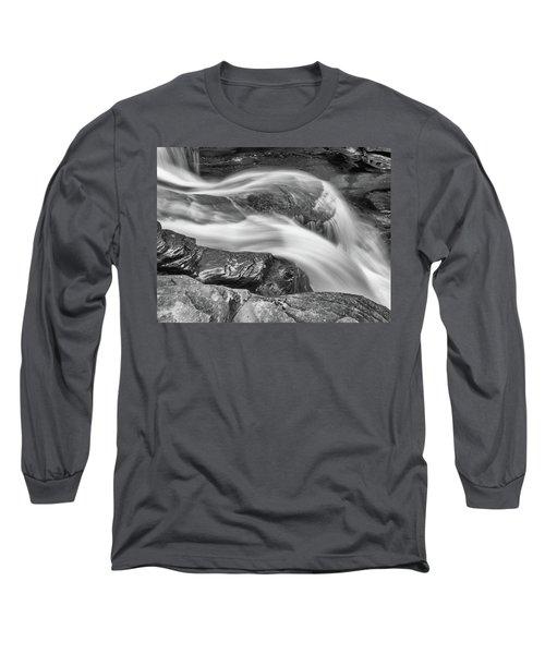 Black And White Rushing Water Long Sleeve T-Shirt