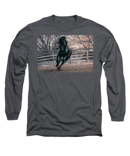 Black Stallion Cantering Long Sleeve T-Shirt