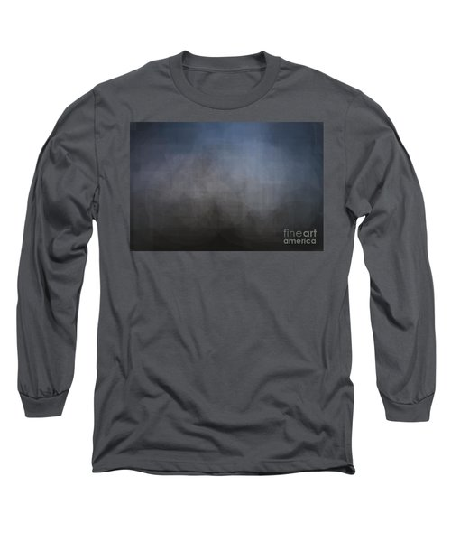 Blue Gray Abstract Background With Blurred Geometric Shapes. Long Sleeve T-Shirt