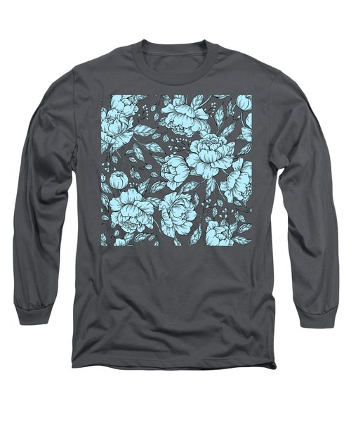 Blue Peonies Long Sleeve T-Shirt