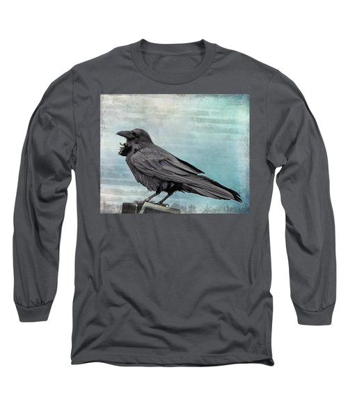 Long Sleeve T-Shirt featuring the photograph Blue Raven by Mary Hone