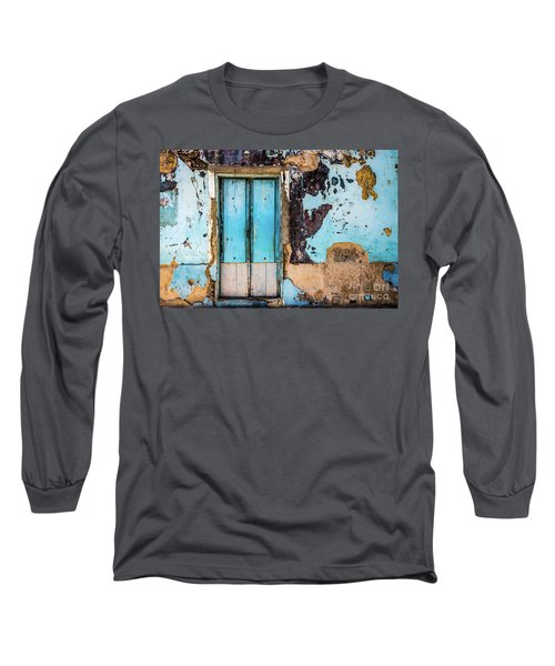 Blue Wall And Door Long Sleeve T-Shirt
