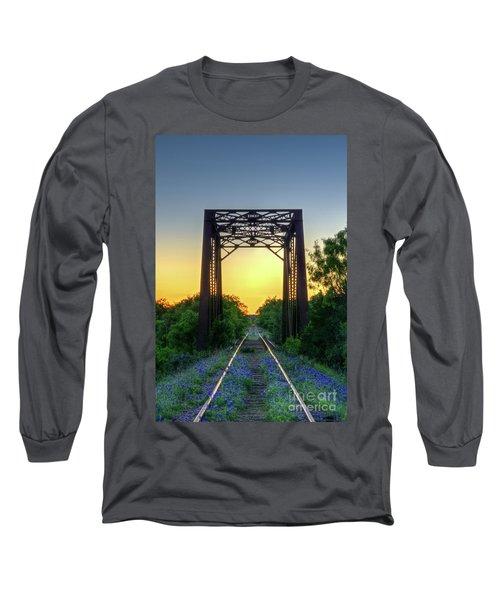 Bluebonnets On The Abandoned Railroad Long Sleeve T-Shirt