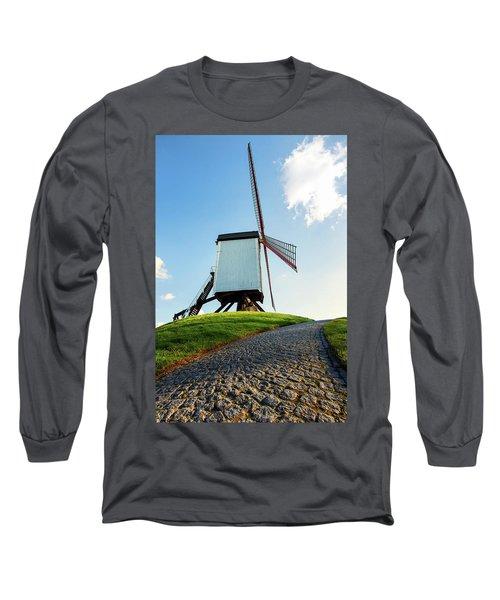 Bonne Chiere Windmill Bruges Belgium Long Sleeve T-Shirt