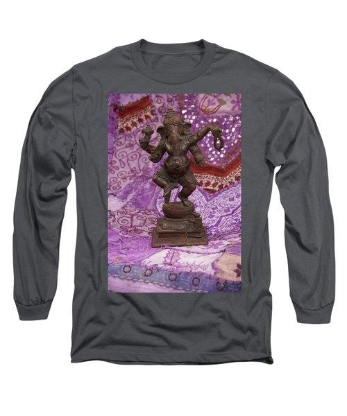 Bronze Ganesha Dancing, On Purple Long Sleeve T-Shirt
