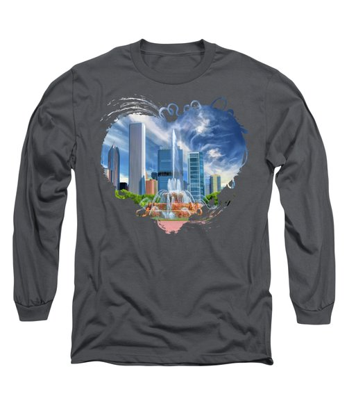 Buckingham Fountain Chicago Skyscrapers Long Sleeve T-Shirt