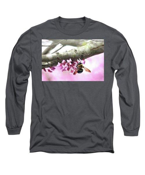 Bumblebee On Redbud Flower Long Sleeve T-Shirt