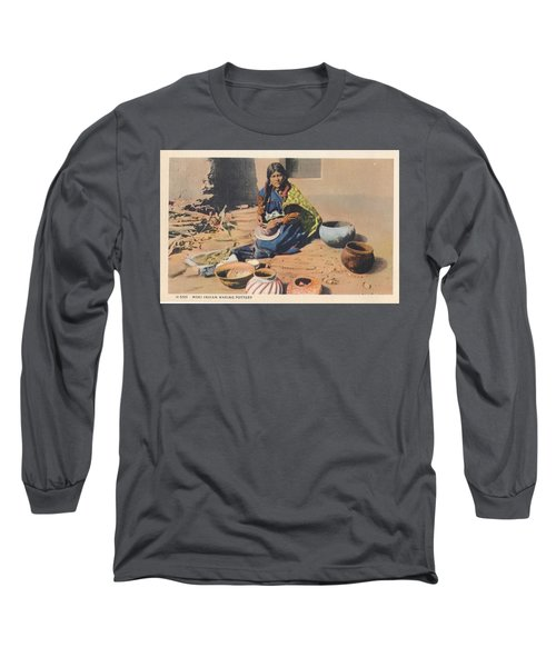 c1920 Moki Indian Pot Maker, Fred Harvey Arizona Color Postcard Long Sleeve T-Shirt