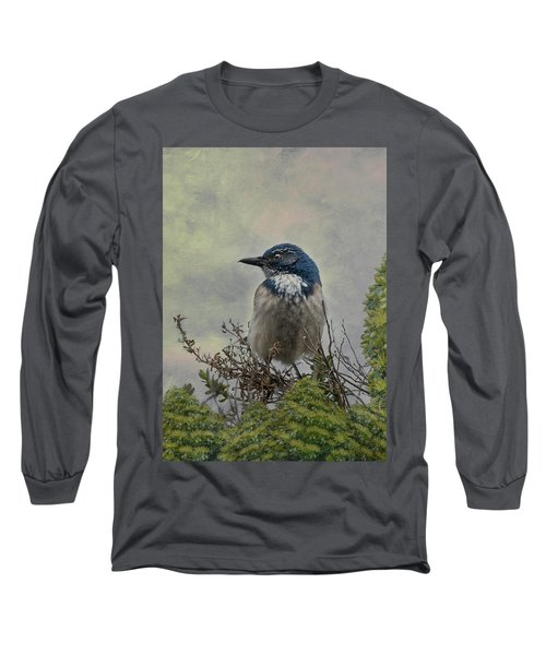 California Scrub Jay - Vertical Long Sleeve T-Shirt