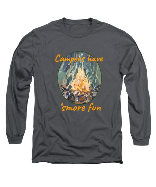 Long Sleeve T-Shirt featuring the painting Campers Have Smore Fun by Maria Langgle