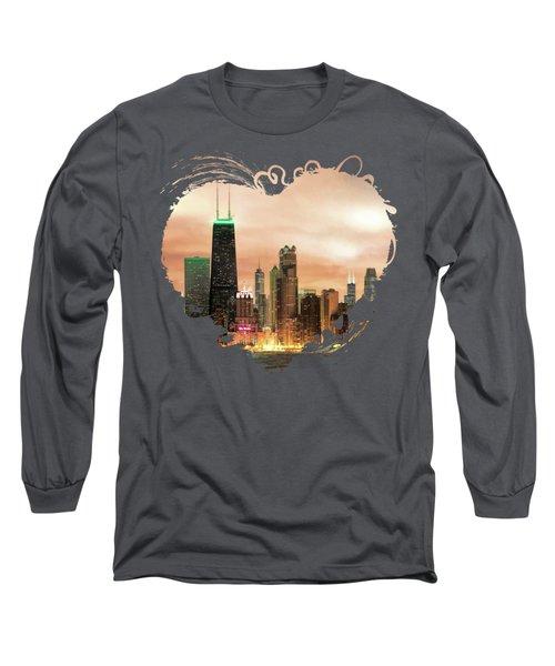 Chicago Gotham City Skyline Panorama Long Sleeve T-Shirt