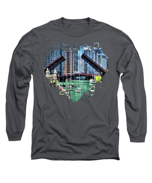 Chicago River Boat Migration Long Sleeve T-Shirt