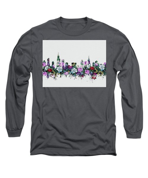 Chicago Skyline Floral Long Sleeve T-Shirt