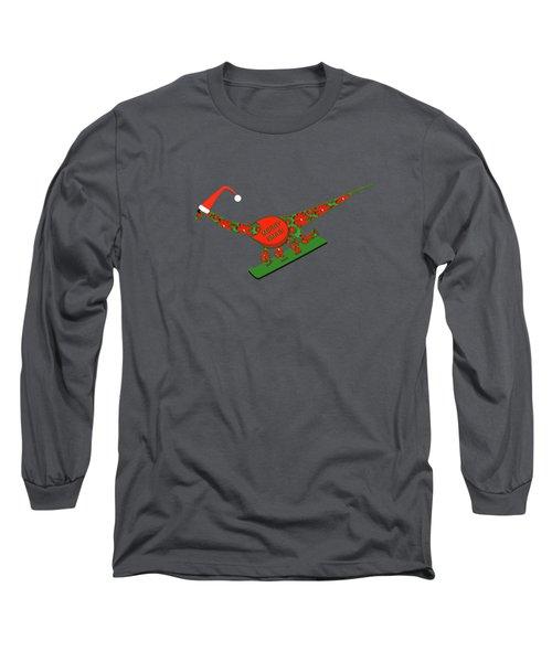 Christmas Dinosaur Snowboarding Long Sleeve T-Shirt
