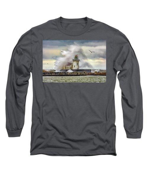 Cleveland Lighthouse Storm  Long Sleeve T-Shirt