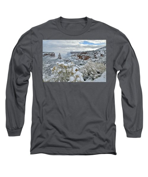 Clouds Break Over Snow Covered Independence Canyon Long Sleeve T-Shirt