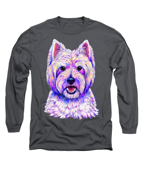 Colorful West Highland White Terrier Blue Background Long Sleeve T-Shirt