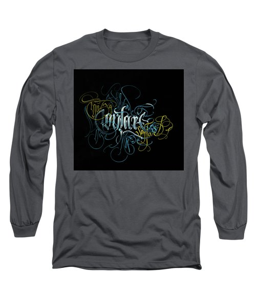 Contact. Calligraphic Abstract Long Sleeve T-Shirt