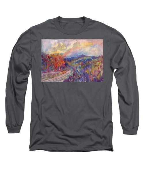 Country Road In The Autumn Forest Long Sleeve T-Shirt